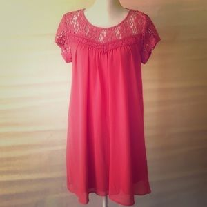 Lovely coral lace shift dress